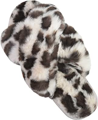 DL Womens Cross Band Leopard Soft Plush Furry Fleece Slippers Slip on Open Toe House Slippers Indoor Outdoor Anti-Skid Rubber Sole