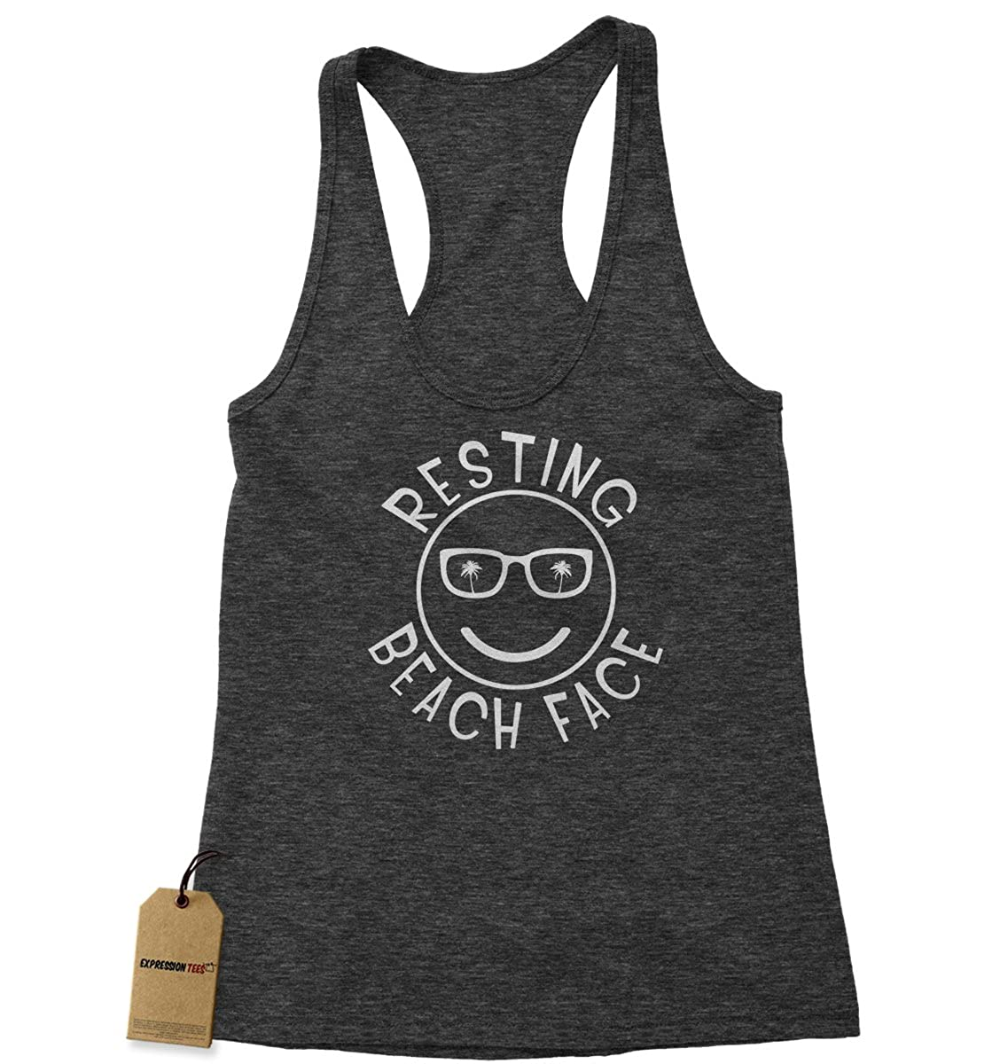 Expression Tees Resting Beach Face Triblend Racerback Tank Top for Women 2011-R