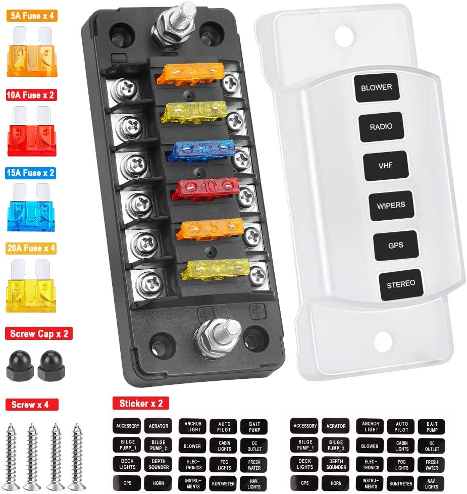 Electop 6 Way Fuse Block Blade Fuse Box with Negative Bus, 6 Circuit Fuse Holder Fuse Block w/Negative Bus, Waterproof Protection Cover Sticker Labels for 12V/24V Automotive Car Truck Boat Marine RV