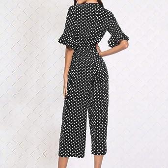 Amazon.com: NewKelly Women Polka Dot Printed V-Neck Wide Leg Pants Long Jumpsuit Bandage Playsuit: Clothing