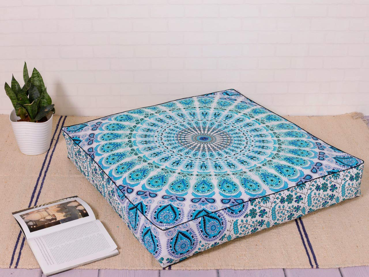 Indian Mandala Floor Pillow Cover Square Ottoman Pouf Cover Daybed Oversized Cotton Cushion Cover with Heavy Duty Zipper Seating Ottoman Poufs Dog-Pets Bed 35'' by Hemsi-77