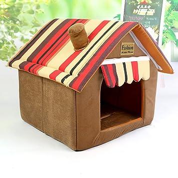 Cama de gato para casa de perro diseñada para perros pequeños y gatos Casa de mascota portátil de interior: Amazon.es: Productos para mascotas