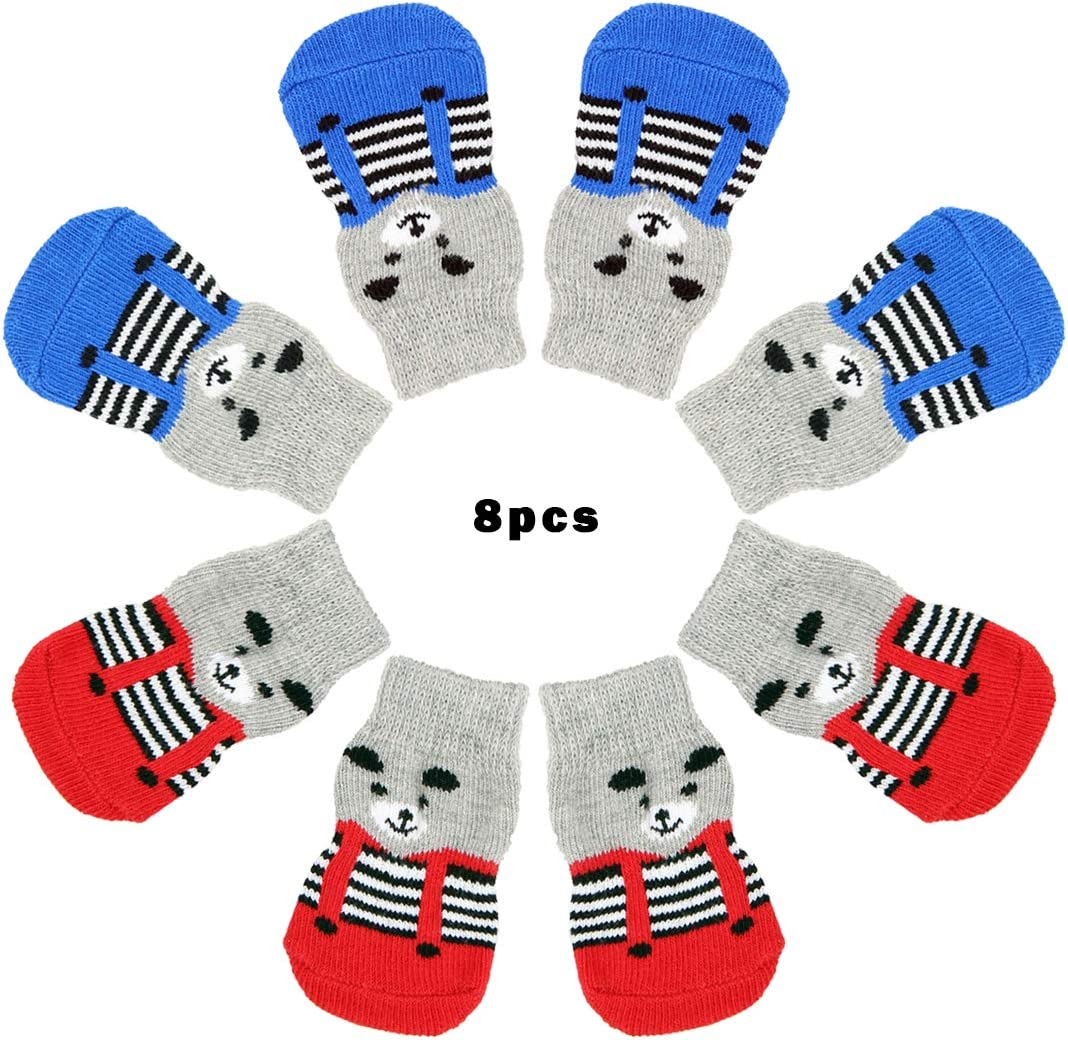 con patr/ón de Oso para Interiores y Control de tracci/ón para Perros peque/ños Wudong 8 Calcetines Antideslizantes para Perros Cachorros y Gatos