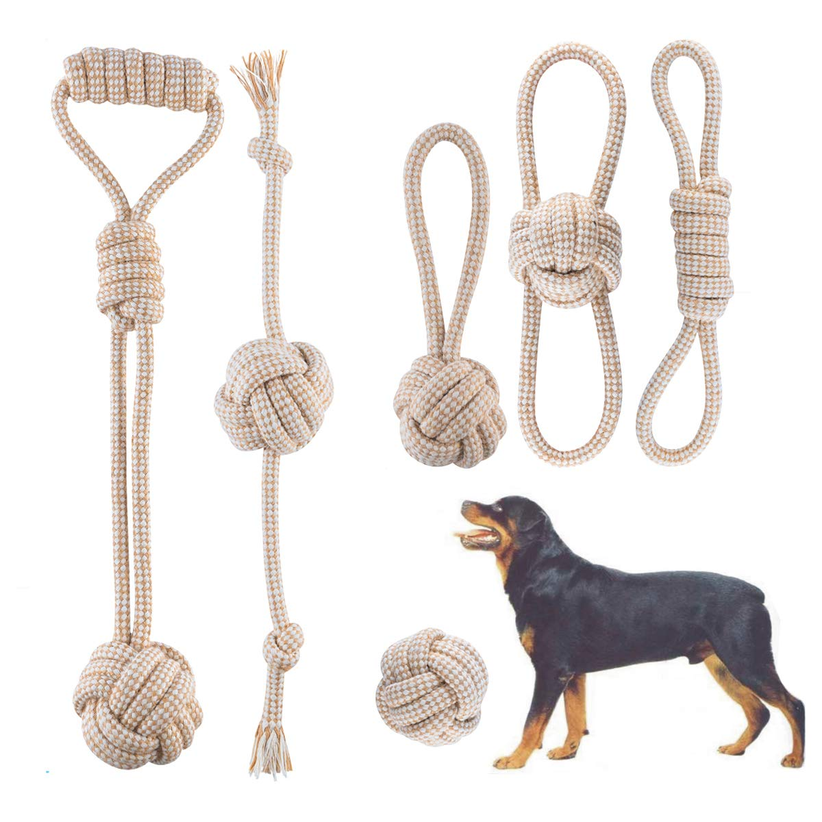 FONPOO Puppy Chew Toys, Premium Cotton Dog Rope Toys Interactive Game Tug of War Meet The Dog Teething is The Chewers Demand Relieve The Dogs Boredom for Medium and Small Dogs Dog Gift Set by FONPOO