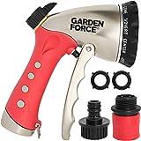 Garden Hose Nozzle, Water Hose Sprayer, 10 Spray Patterns, Heavy Duty Leak Proof Zinc Alloy Design, Rust Resistant Chrome Plating, Flow Control For Precise Water Pressure, BONUS 2 Washers