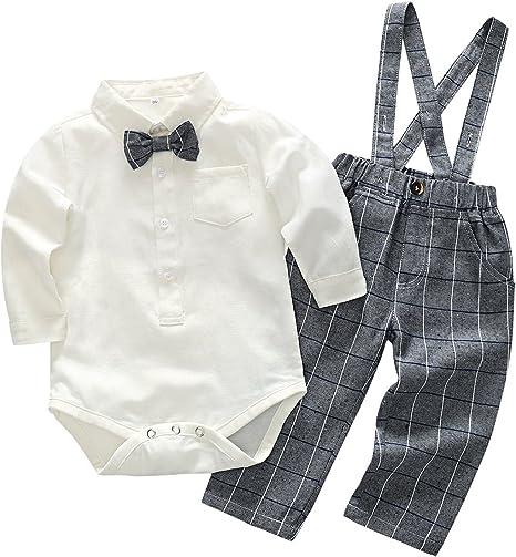 Feoya Conjunto de Ropa bebé Niño Recién Nacido Camisa Manga Larga Pantalones Cuadros con Tirantes 6-9 Meses - Gris: Amazon.es: Bebé