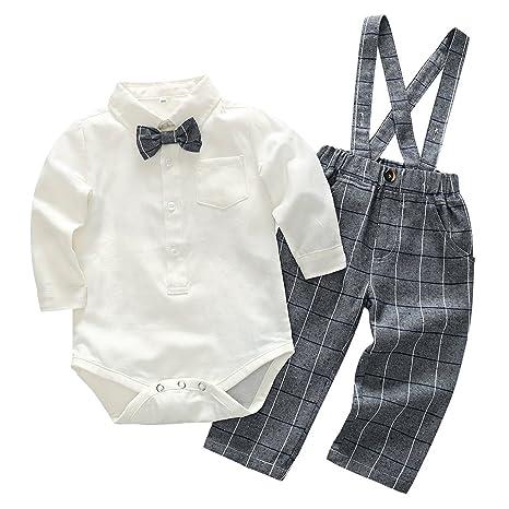 f28b74b52 Feoya Conjunto de Ropa bebé Niño Recién Nacido Camisa Manga Larga  Pantalones Cuadros con Tirantes 6