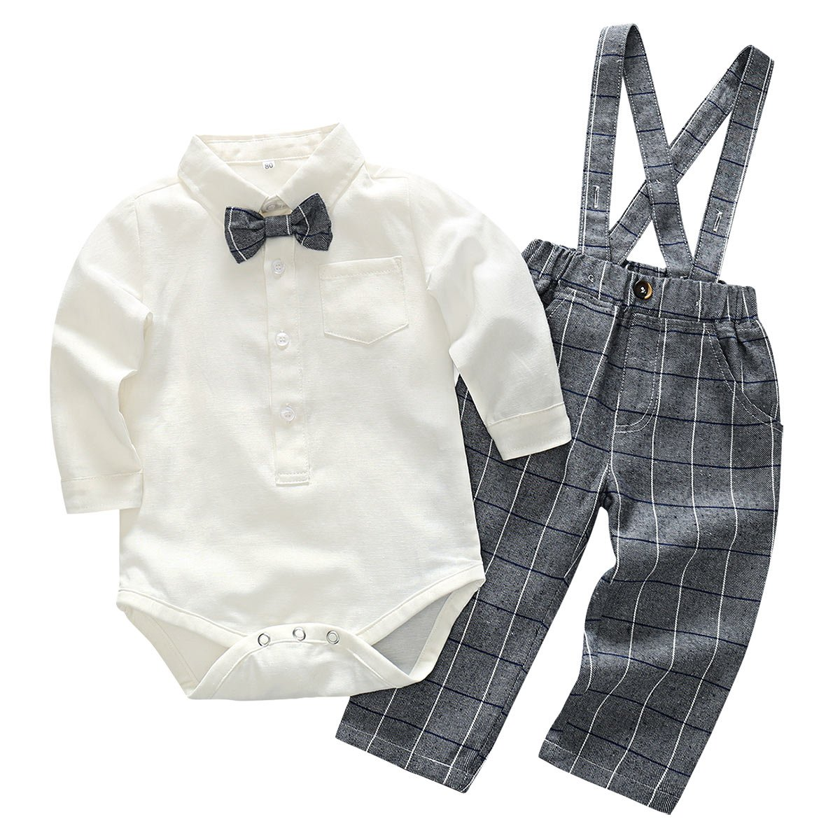 Newborn Baby Boy Gentlemen Rompers Suit Plaid Suspender Pants Outfit Wedding Formal Wear with Bowtie White/Grey for 12-18 Months