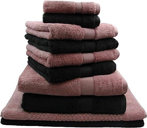 Juego de 10 toallas de rizo sin pelusas, de algodón egipcio, toallas, toallas de mano, toallas de invitados y 2 alfombrillas de baño, color: rosa y negro: Amazon.es: Hogar