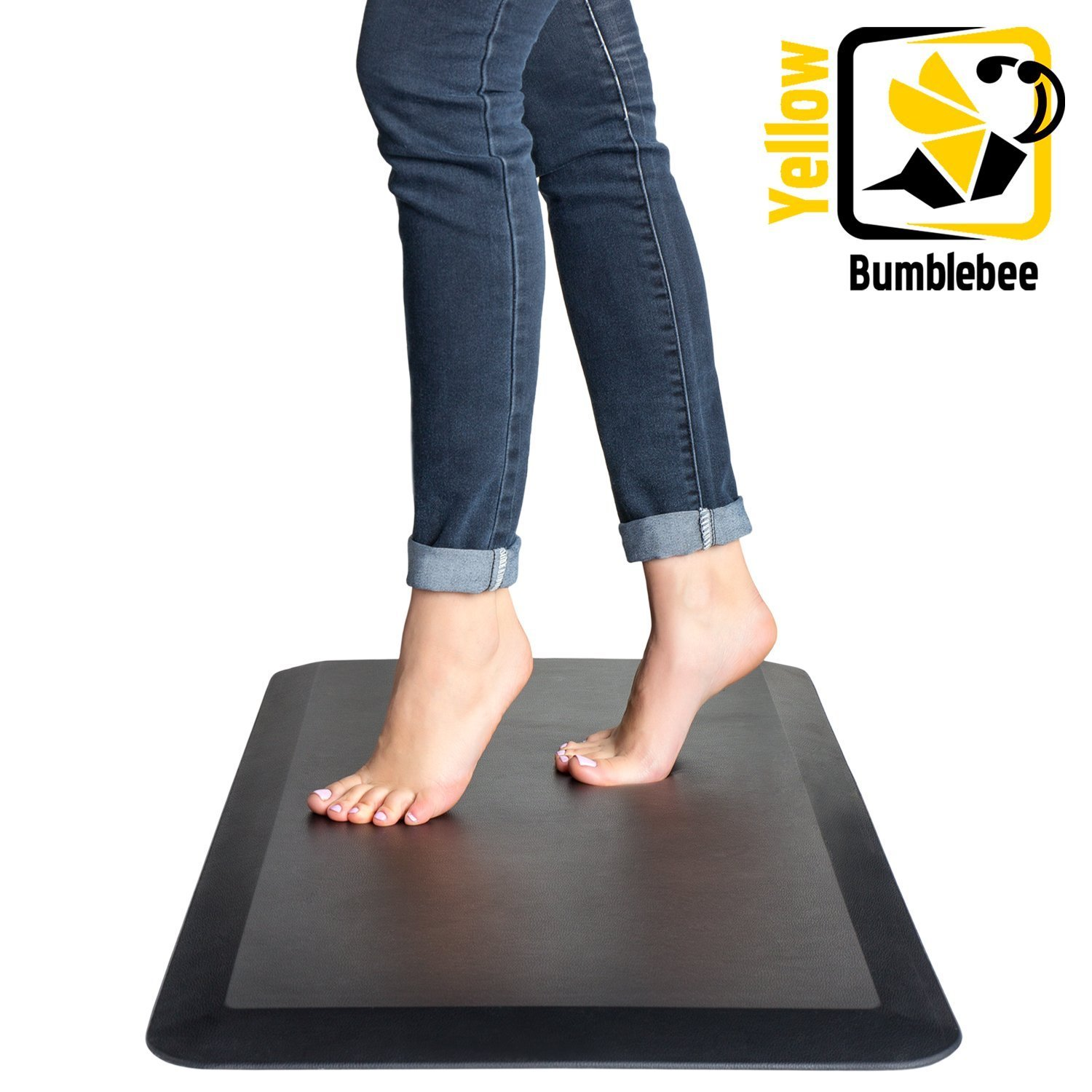 Anti Fatigue Comfort Mat - Yellow Bumblebee - Standing Desk Mat 20 x 39 x 3/4'', Ergonomically Engineered - Perfect for Kitchen, Bathroom, Offices and Workstations, Non-Toxic, Waterproof, (Black)