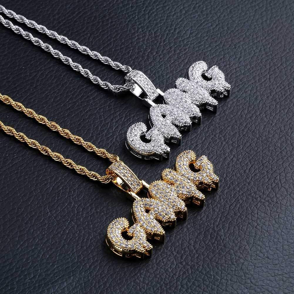 MoCa couronnes simul/ée Iced Out Bling Gouttes de Lettres Savage Pendentif avec Corde de Cuba Cha/îne /à maillons Hip Hop Collier