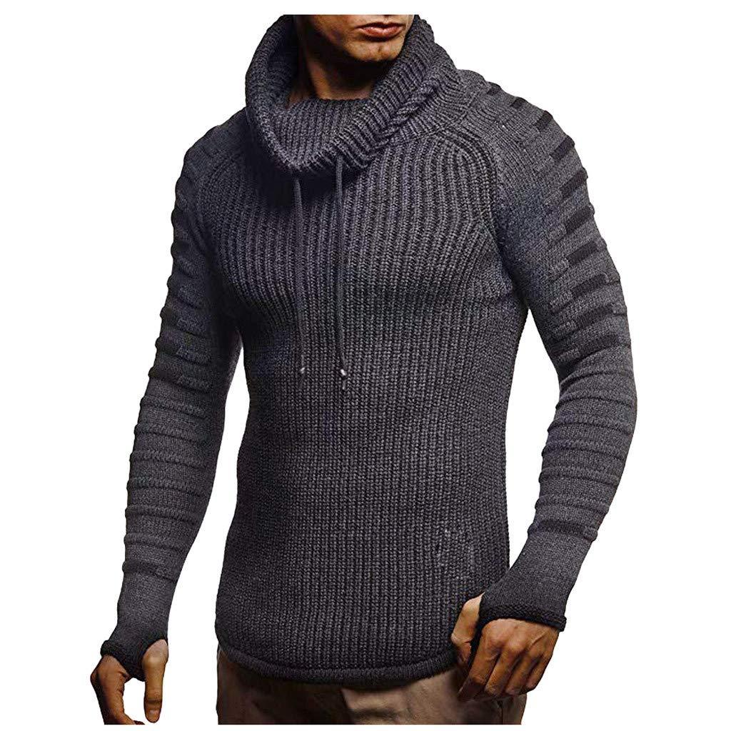 Gleamfut Men's Solid Turtleneck Sweater Winter Sport Long Sleeve Warm Knitted Tops Knitwear Gray by Gleamfut