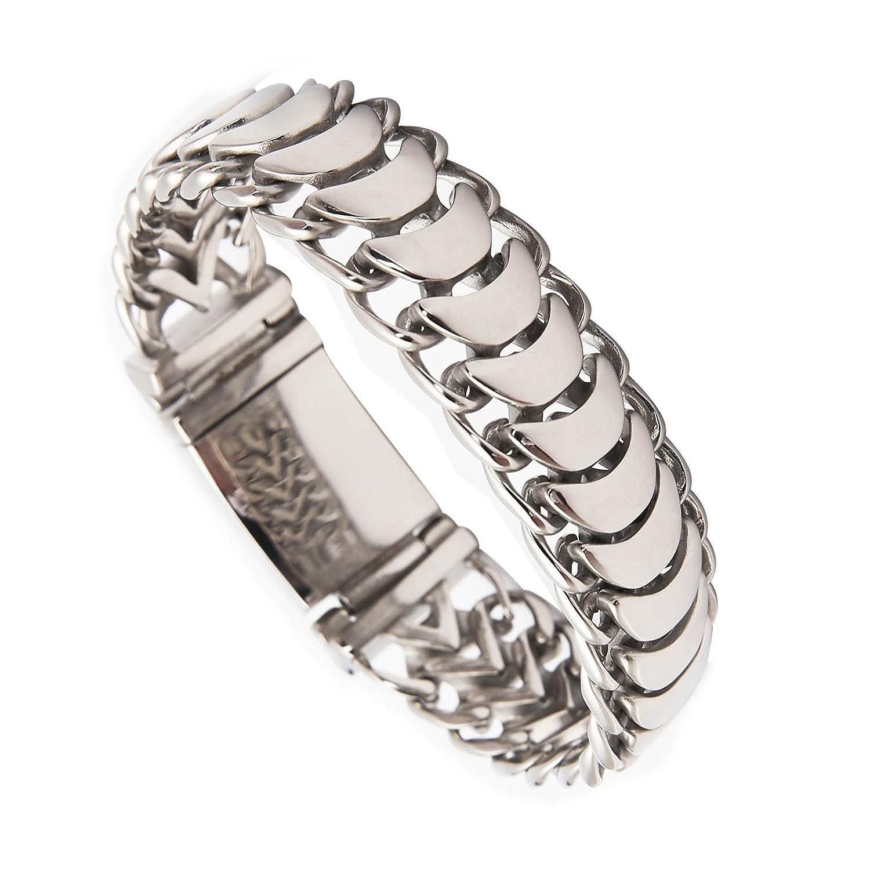 BlueFox Men's Bracelet Keel Titanium steel High polished Link bracelet pack 1 Three dimension 8.6''