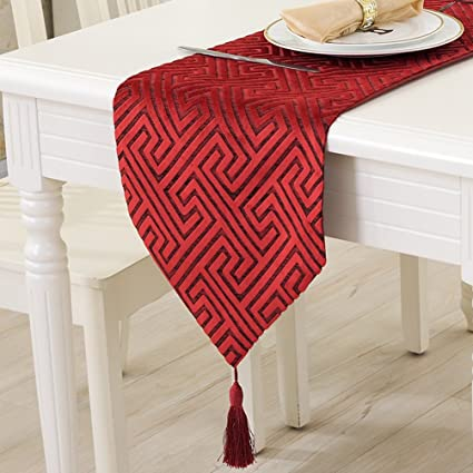 ZebraSmile Hollow Out Maze Luxury Chinlon Red Table Runners With Tassels  For Tea Table Decoration 13