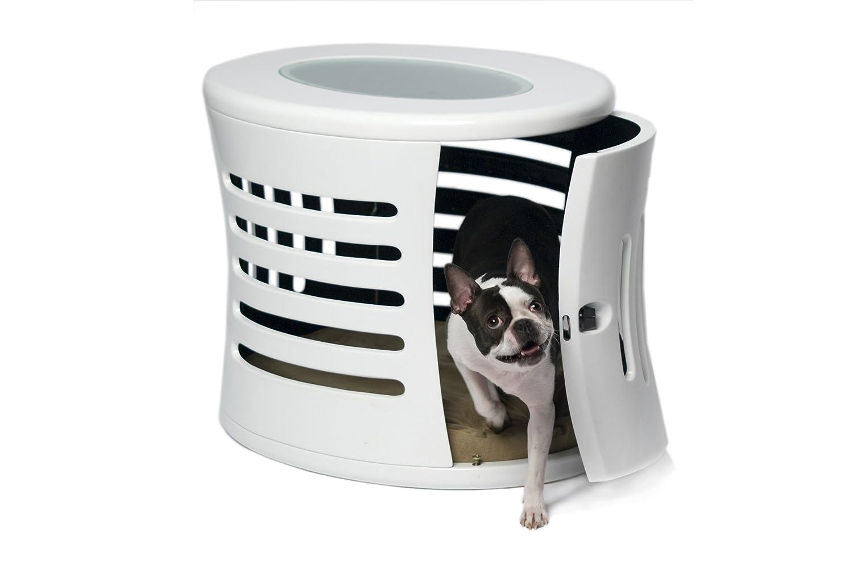 Designer dog crate furniture home design for Design indoor dog crate