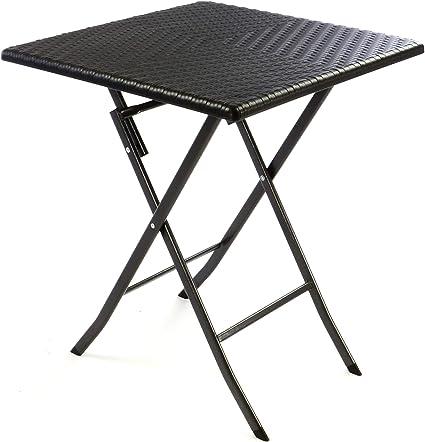 Amazon De Nexos Tisch In Rattan Optik Balkontisch Gartentisch Klapptisch Schwarz 61 X 61 X 75 Cm Eckig Campingtisch Kunststoff Robust Stabil Wetterfest Pflegeleicht Klappbar