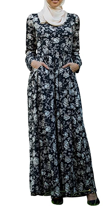 Urban Modesty Womens Floral Fever Long Sleeve Abaya Maxi Dress $59.99 AT vintagedancer.com