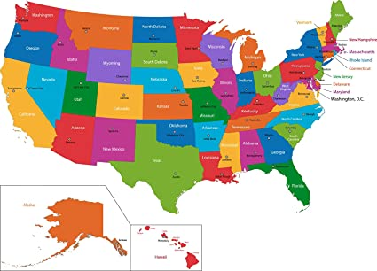 Amazon.com: Home Comforts Laminated Map - Us Map with State ...