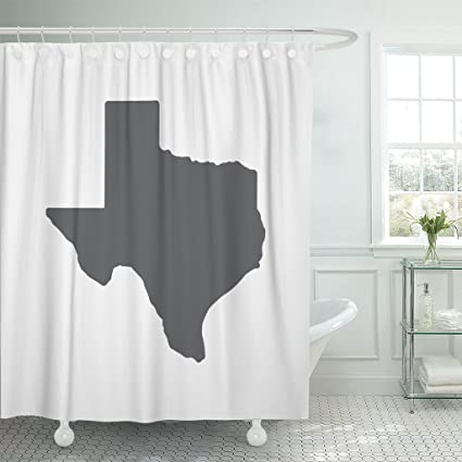 Amazon TOMPOP Shower Curtain Austin Texas Grey State Border Map