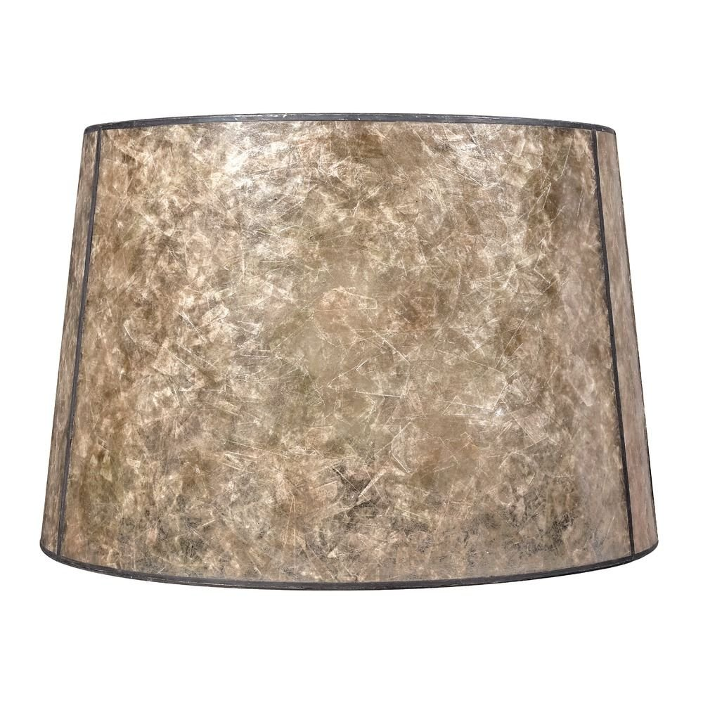 Blonde Mica Drum Lamp Shade with Bronze Spider Assembly by Design Classics
