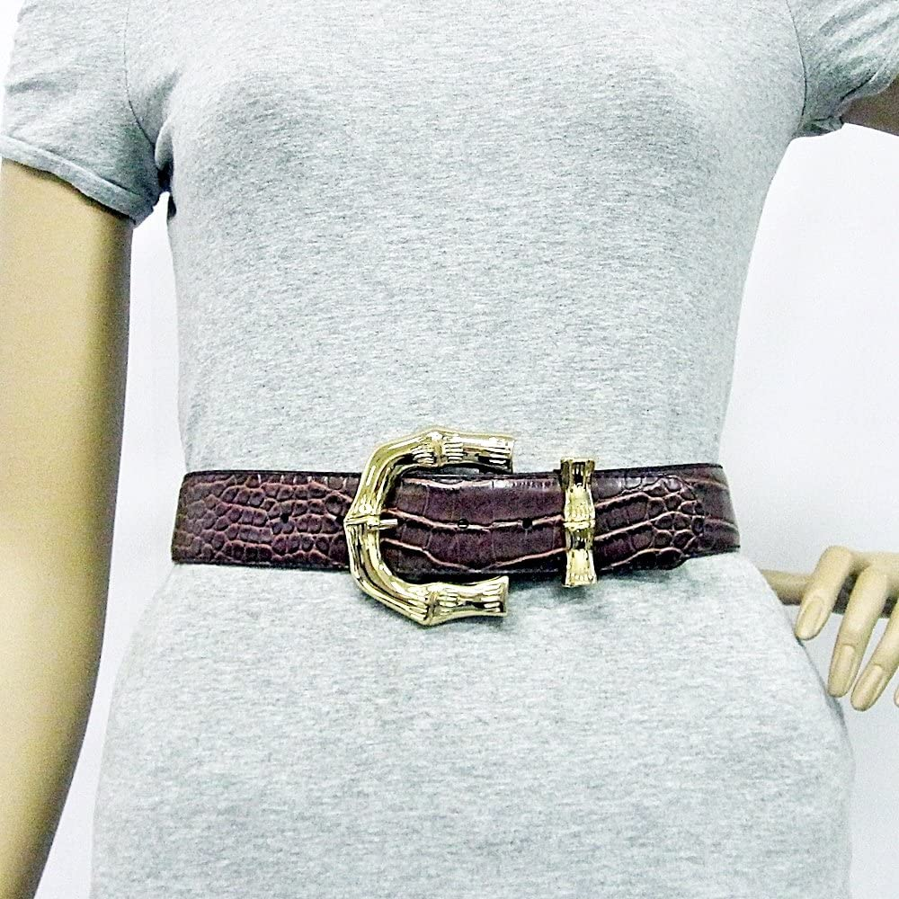1 1//2 Womens Gold Bamboo Handle Buckle on Quality Croc Belt Strap