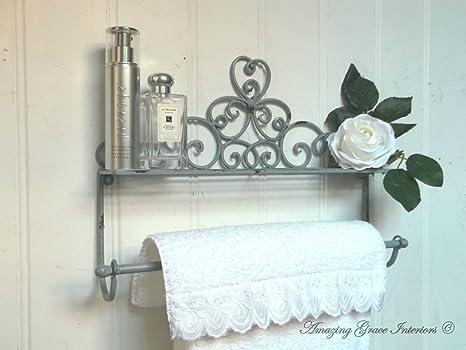 Porta Asciugamani Bagno Shabby : Shabby chic francese grigio porta asciugamani da parete stile