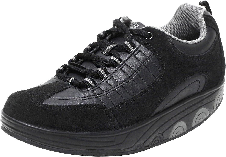 Dynamic24 AKTIV Damen Herren Schuhe mit Spezial Rundsohle Aktivschuhe Gesundheitsschuhe Fitnessschuhe Gondelschuhe Freizeitschuhe schwarz