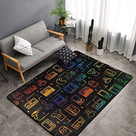 O X X O Home Decor Non Slip Indoor Outdoor Floor Mat Game Video Gaming Pattern Black Large Area Rug Machine Washable Carpet Decor Living Room Dining Room Kids Room Play Room Carpet 60 X 39