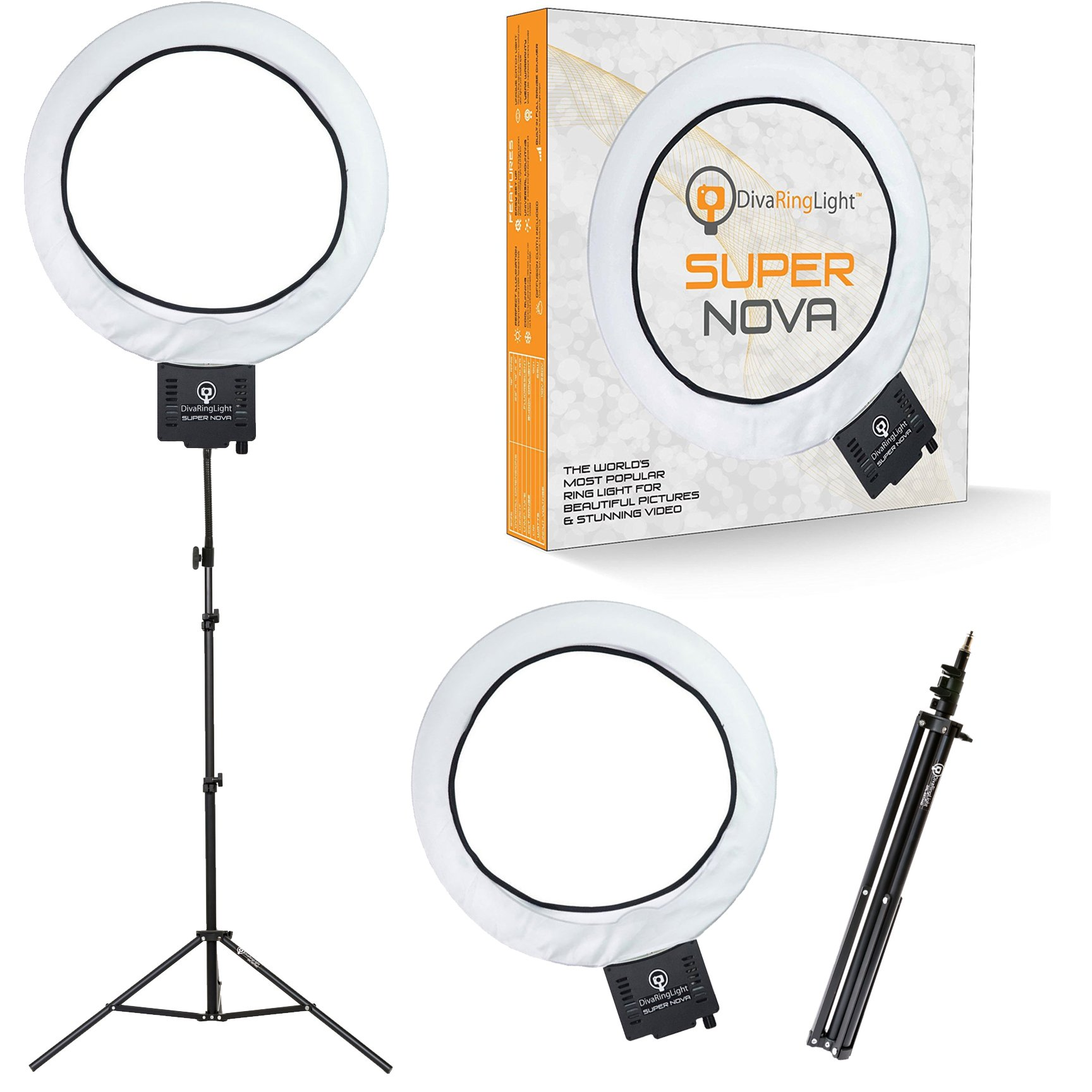 Diva Ring Light Super Nova 18'' Dimmable w/6' Stand - Professional Studio Lighting Kit for YouTube, Facebook Live, Twitch, Photography, and Beauty Blogging