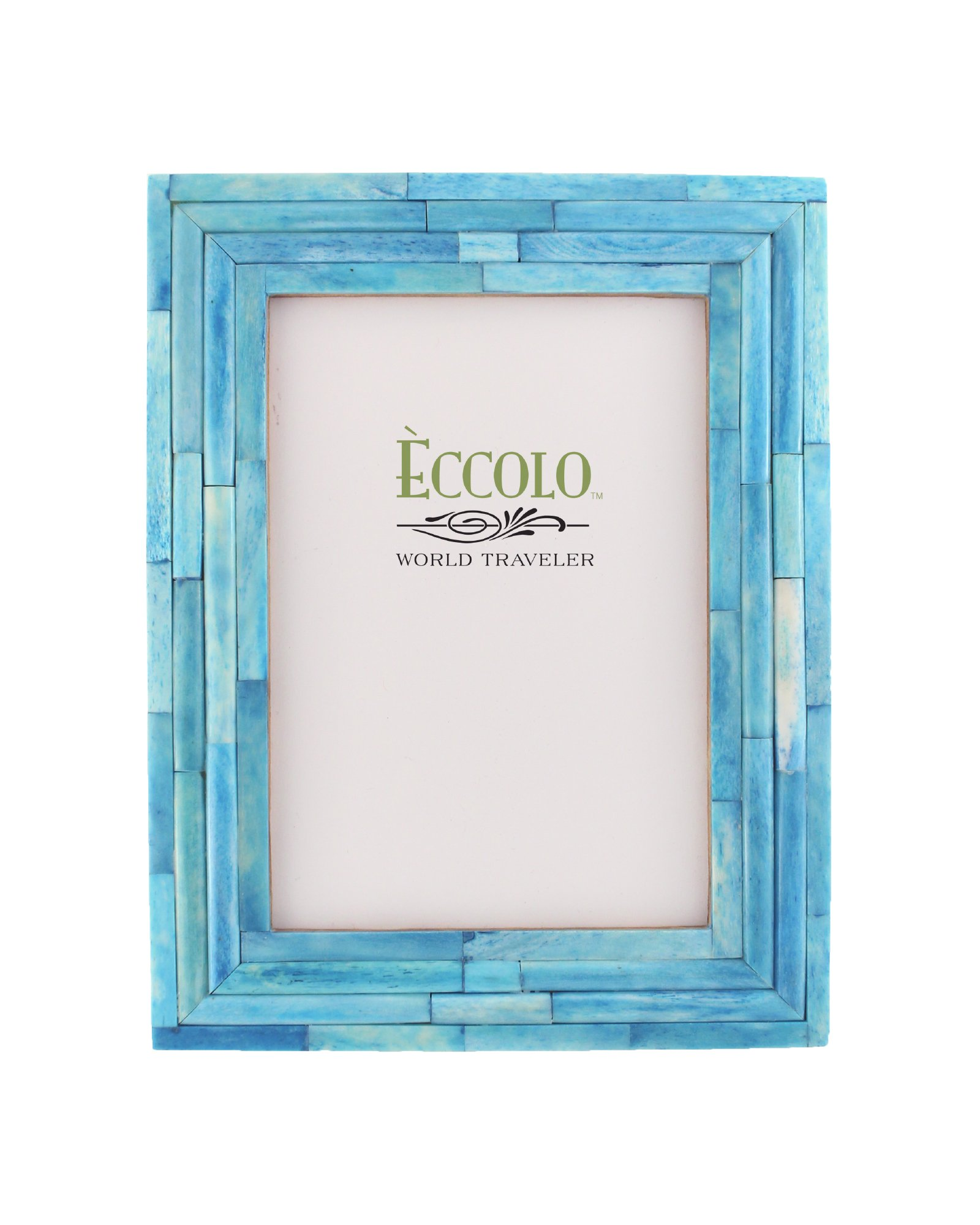 Eccolo World Traveler Naturals Collection Bangalore Raised Interior Frame, Holds 5 by 7-Inch Photo, Turquoise