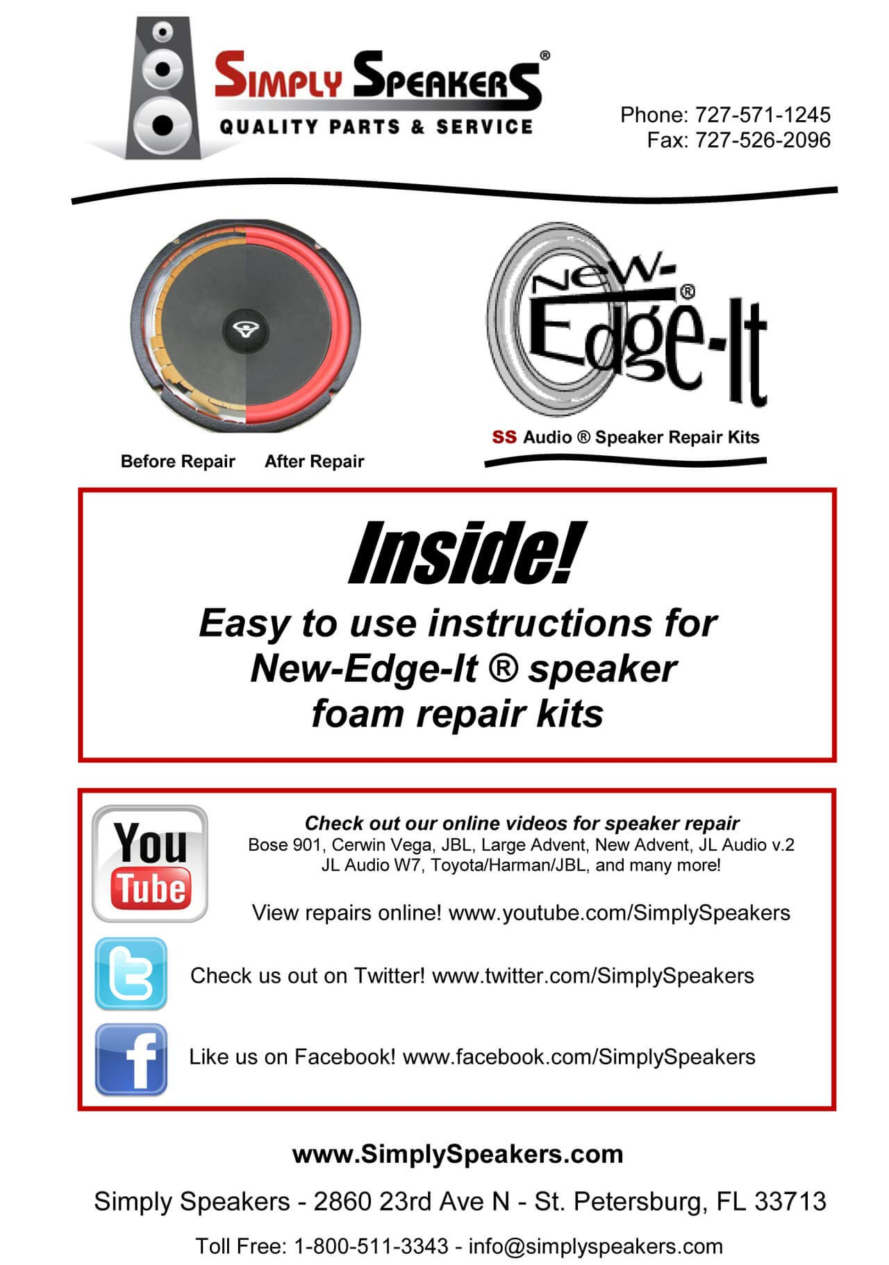 JL Audio 12 Inch Foam Speaker Repair Kit FSK-12JL (Pair)
