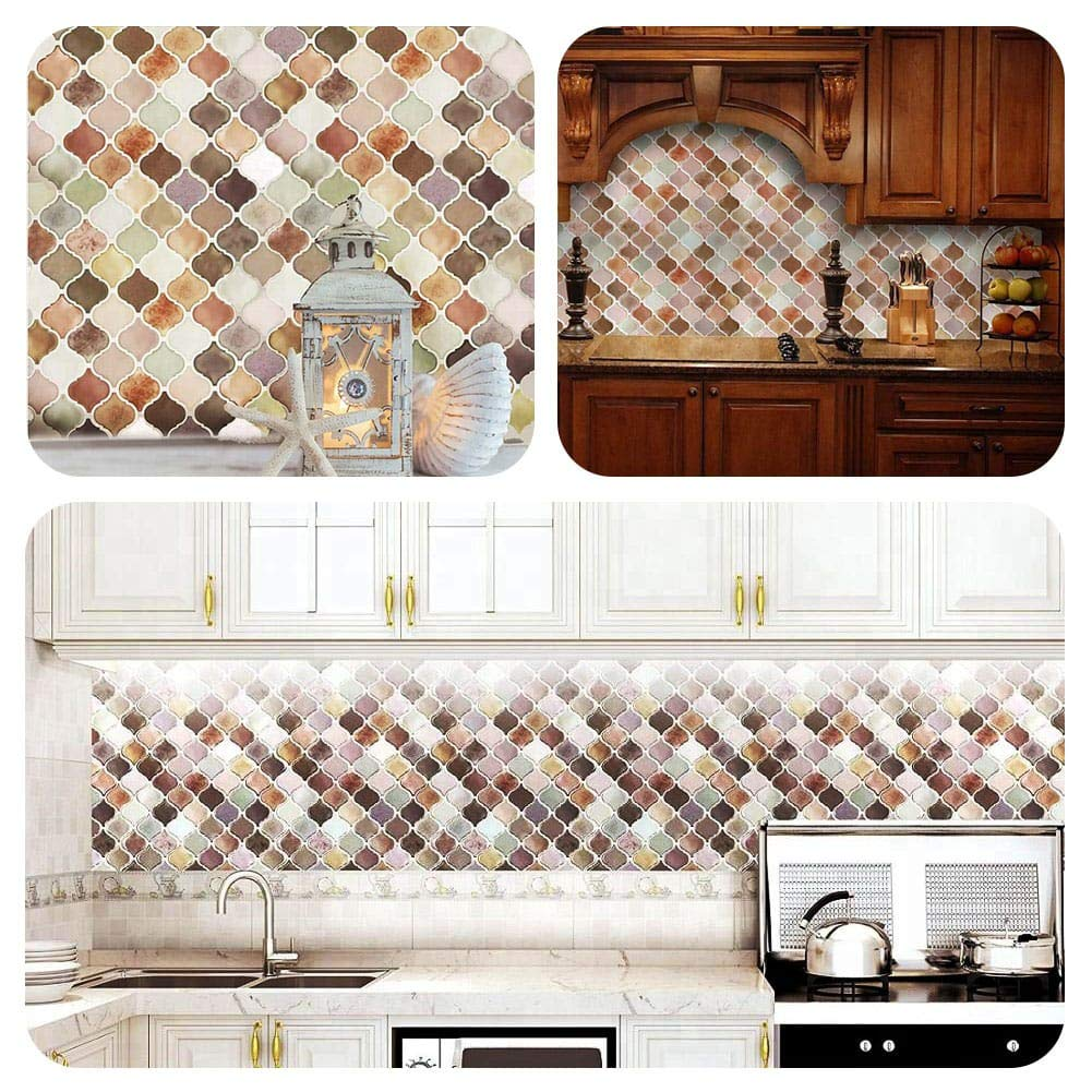 Soulscrafts Arabesque Peel and Stick Tile for Kitchen or Bathroom Smart Tiles Self Adhesive Removable Stick Waterproof Sticker Decals for Backsplashes Peachpuff, 5 Sheets
