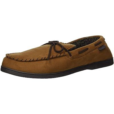 Dearfoams Men's Microsuede Moccasin with Tie Slipper, Chestnut, XL Regular US | Slippers