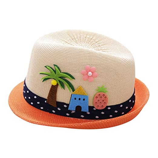 ddb0f2a53f0 Weiyun Baby Top Hat with Coconut Tree Embroidering Caps Toddler Boys Girls  Breathable Summer Sun Protection