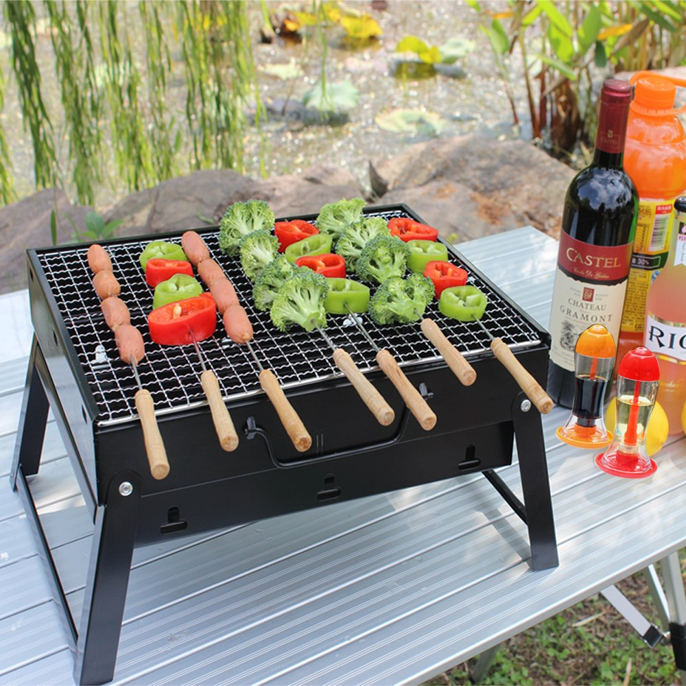 LUXJET BBQ Grill,Portable Charcoal Stainless Steel Barbecue Grill,Foldable Coal Garden Travel Camping Folding Grill