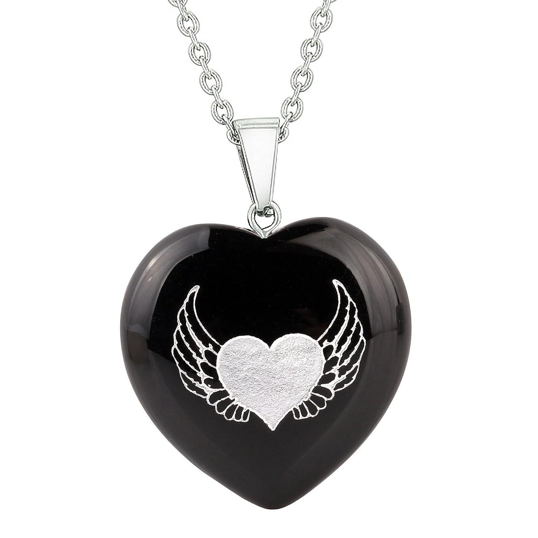 Heart Amulets Angel Wings Heart Love Powers Love or Couples Best Friends Set Agate White Quartz Necklaces