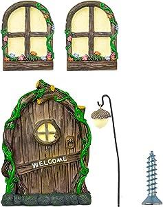 Fairy Garden Doors and Window for Trees, Miniature Doors and Windows, Glow in The Dark Door, gnome Tree Door for Kids' Room Outdoor Decorations Lawn Ornaments