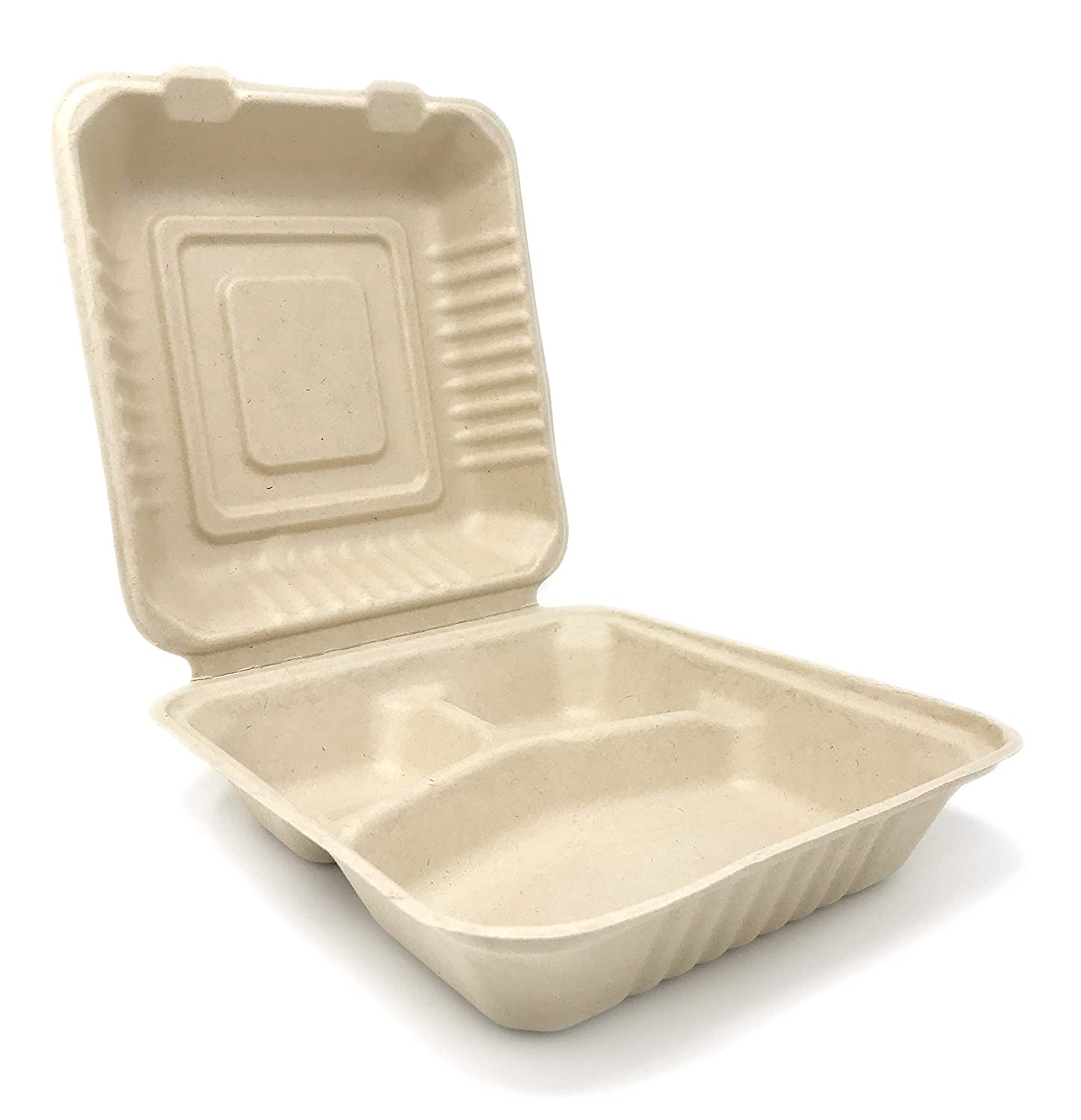 100% COMPOSTABLE 8x8 3 Compartment Take Out Food Container (50 Count) Made from Wheatgrass Bagasse, MR. Green Guys, Heavy Duty 8