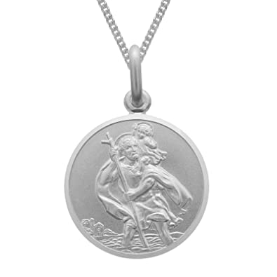 Reversible Sterling Silver St Christopher Pendant Necklace with 18
