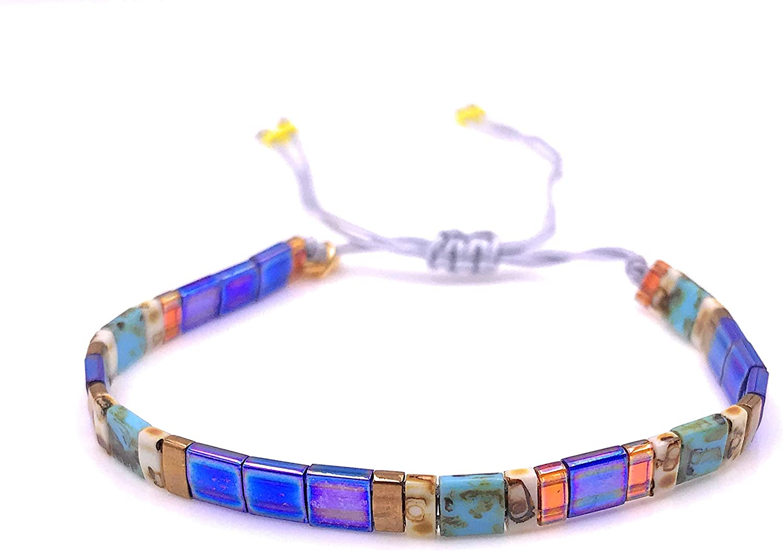 4 strand leather Boho bracelet Irish Moss bohemian glass beads Matubo 3cut