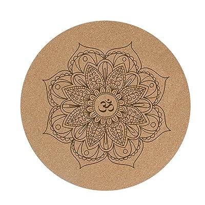 JIAYIBAO Tapis De Yoga Rond 3mm Épaissir Élargir Pad De Méditation Anti-dérapant De Liège (60cmX60cm)