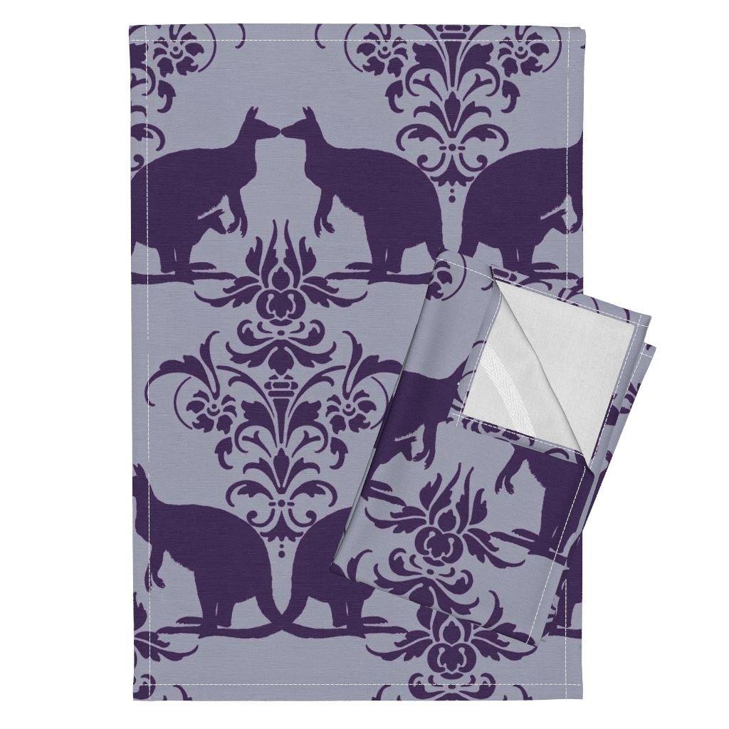 Roostery Kangaroo Damask Animal Kid Purple 1800 Clair De Lune Tea Towels Kissing Kangaroo Damask ~ 1800 by Peacoquettedesigns Set of 2 Linen Cotton Tea Towels