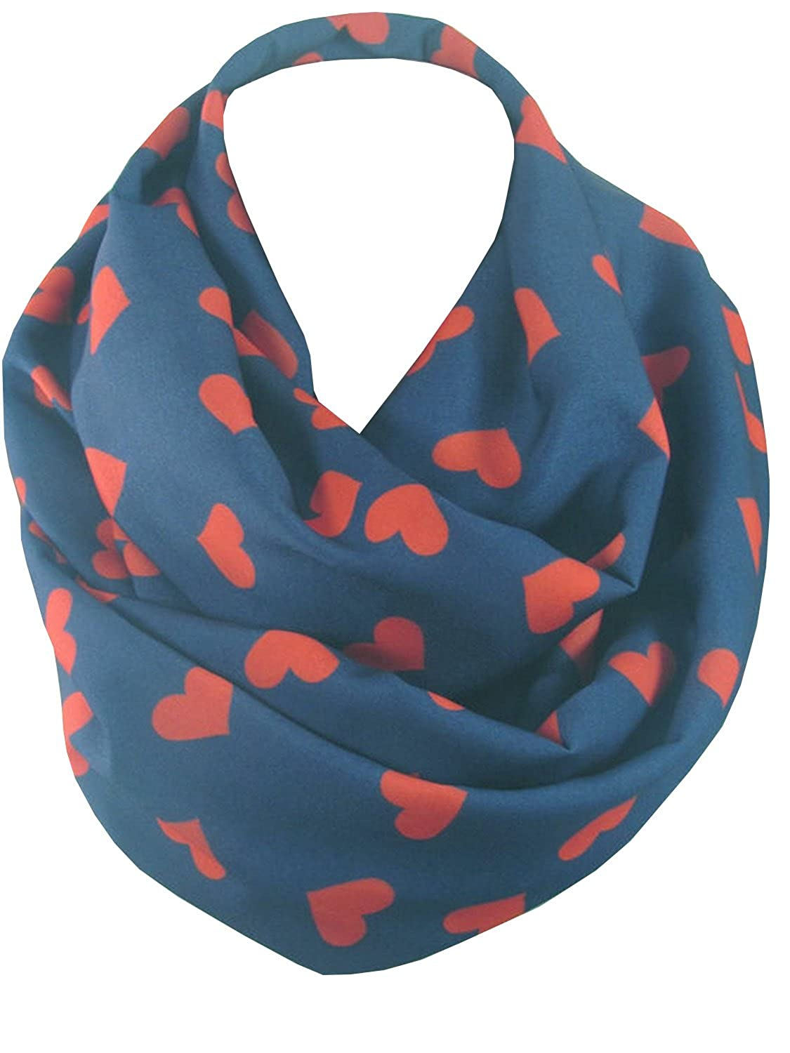 ScarfCluB Womens Heart Scarf Infinity Scarf Circle Scarf Red Hearts Scarf