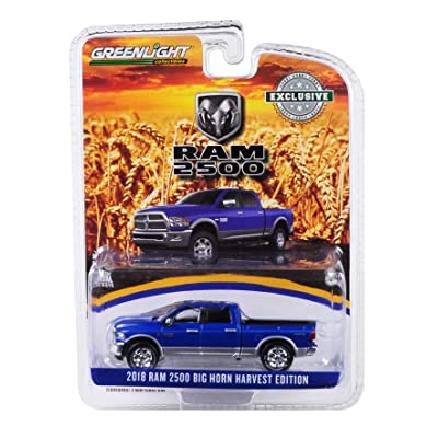 2018 Dodge Ram 2500 Big Horn Pickup Truck New Holland Blue Harvest Edition Hobby Exclusive 1/64 Diecast Model Car by Greenlight 29973: Toys & Games