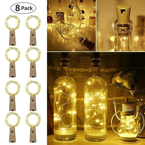 LE Guirnaldas Luces LED con Corcho 2m 20 LED a Pilas, Luces de Botella de Vino Decorativas Cobre Luz para Romántico Boda, Navidad, Fiesta, Hogar, ...