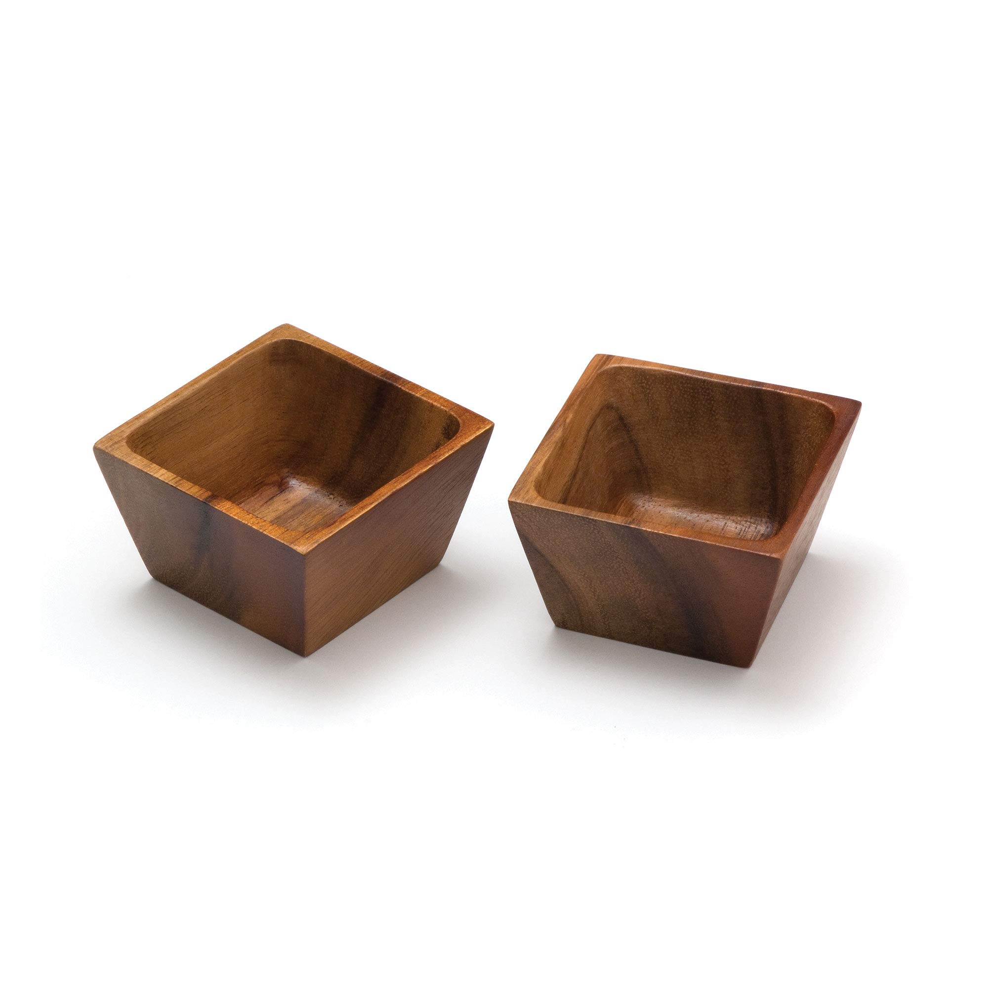 Lipper International 1100-2 Acacia Wood Square Salt Pinch or Serving Bowls, 3'' x 3'' x 2-1/2'', Set of 2