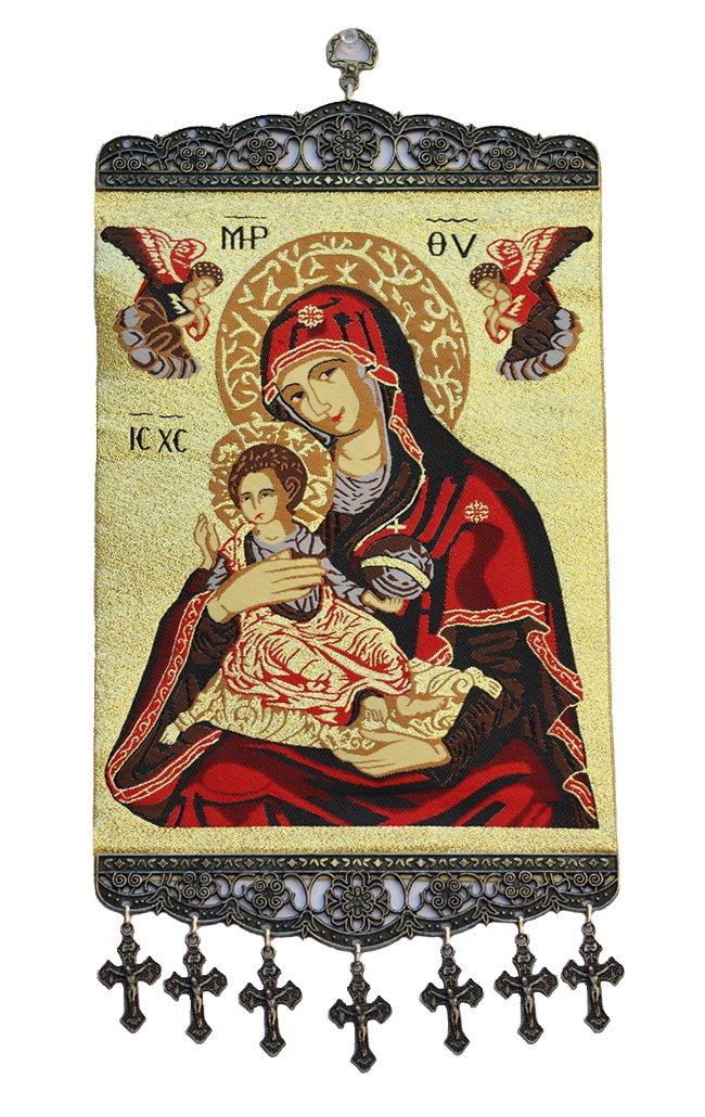 Madonna & Child with Angels Textile Art Tapestry Icon Banner Wall Decor RealSimpleGifts whmGOLD
