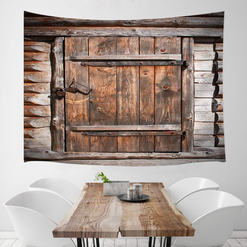 KOTOM Rustic Wood Door Tapestry, Country Barn Vintage Wooden Board Door, Wall Art Hanging Blankets Home Decor for Bedroom Living Room Dorm, 80X60 Inches