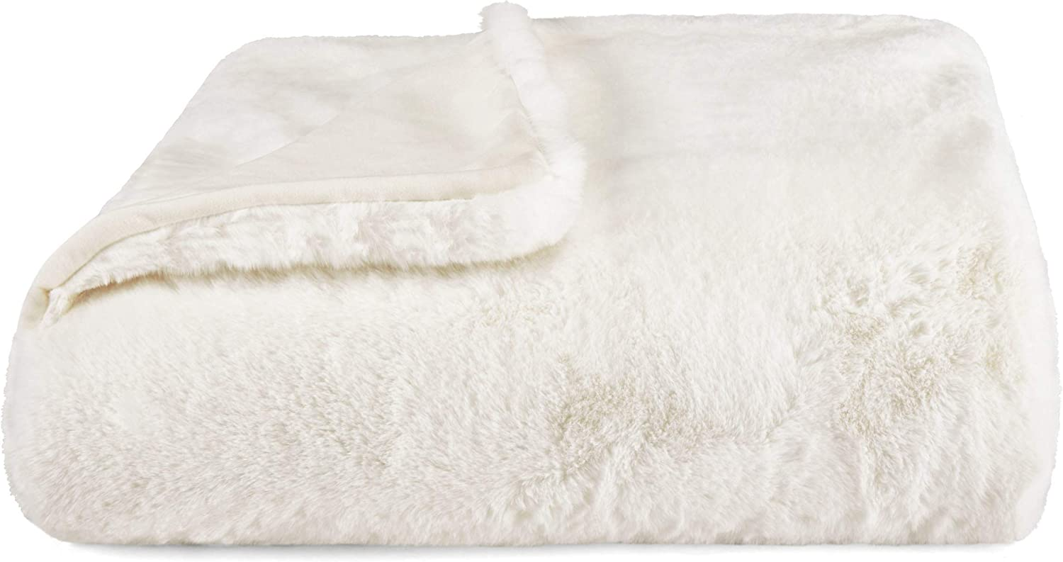 Vera Wang | Lapin Collection | Soft and Cozy Faux Fur Throw Blanket, Lightweight and Perfect for Sofa Couch or Bed, Modern and Stylish Home Décor, 50