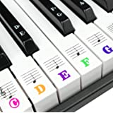 Piano Keyboard Stickers for 88/61/54/49/37 Key. Colorful Large Bold Letter Piano Stickers. Perfect for kids Learning…